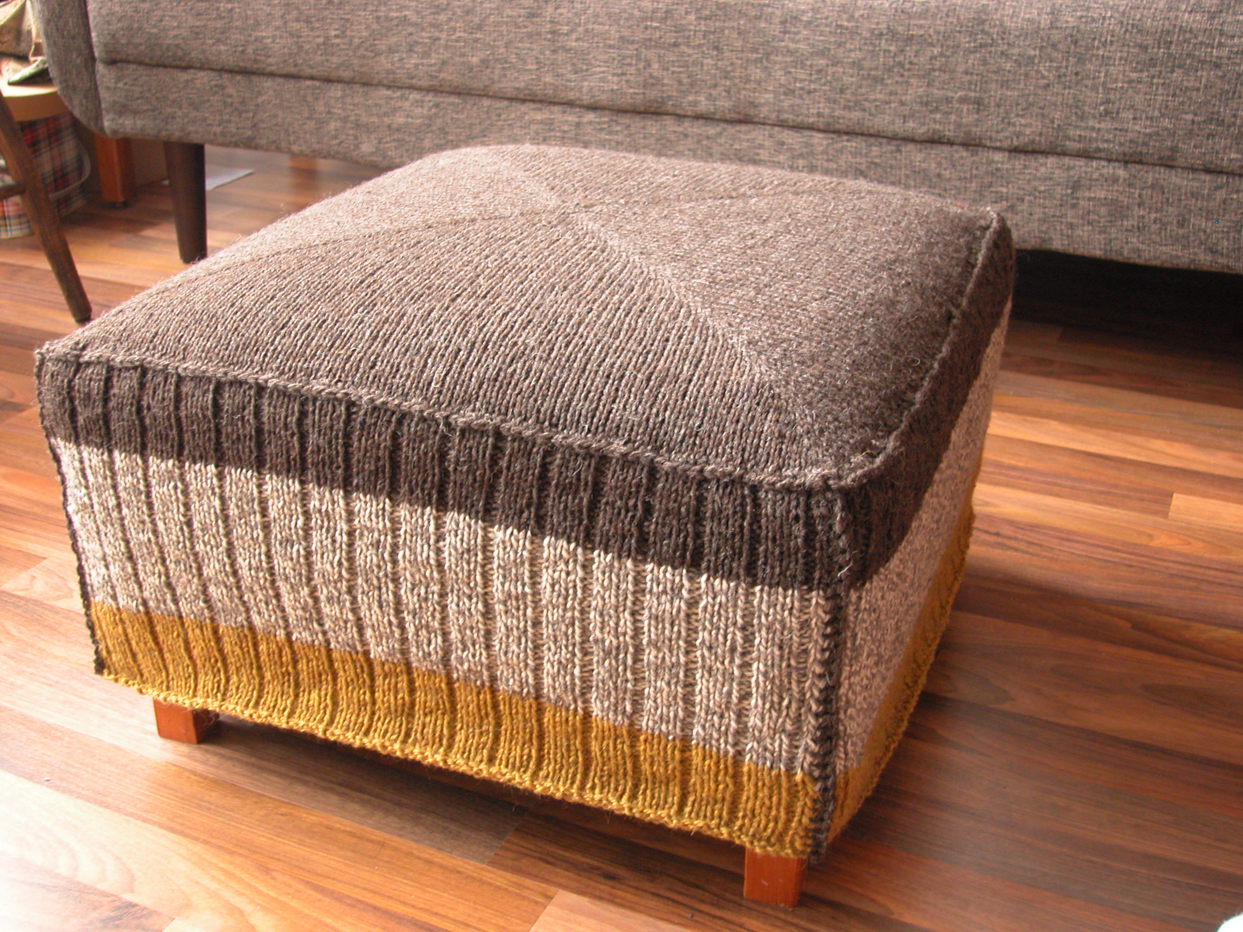 Knitted Ottoman Cover The Knit Cafe