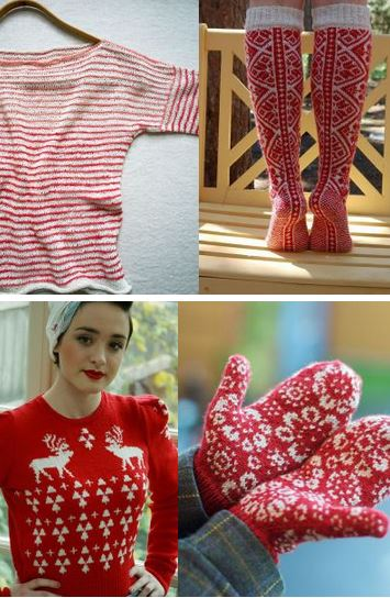 red and white knits