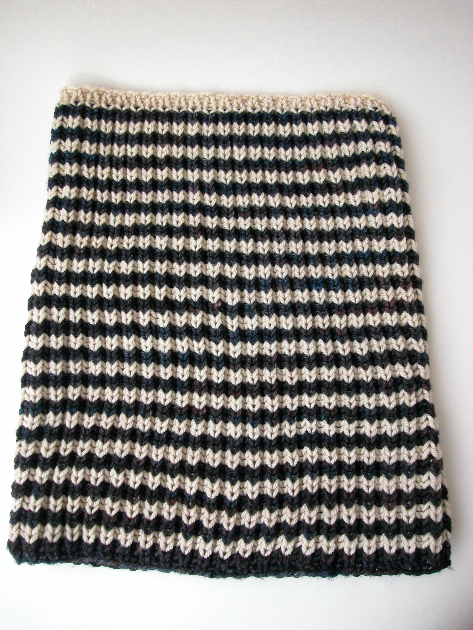 Knit cowl patterns the knit cafe the two colour striping is particularly striking in this design each side of the cowl has a slightly different look but both are equally appealing bankloansurffo Choice Image