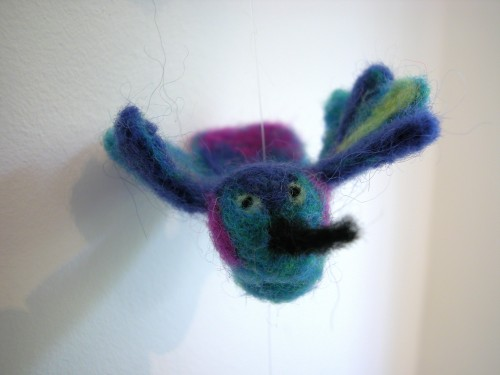 needle felt mobile by the knit cafe